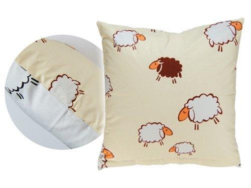 Poszewka na poduszkę BARANKI 40x40 - 100% bawełna, wz. kremowo-białe