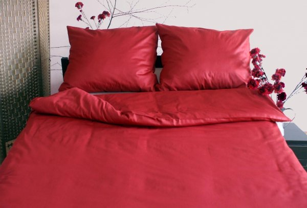 Poszewki na poduszki 40x40 satyna ANDROPOL wz. bordowy