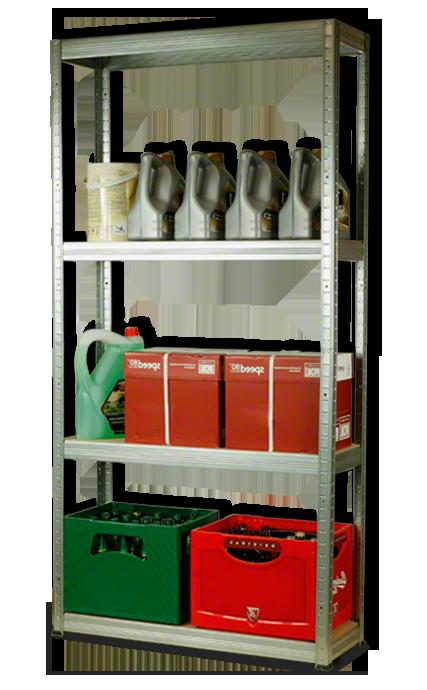 Metallregal Steck-Lager- Schwerlastregal bis 400 kg pro Boden , verzinkt , HZ_180x090x30, 4 Böden