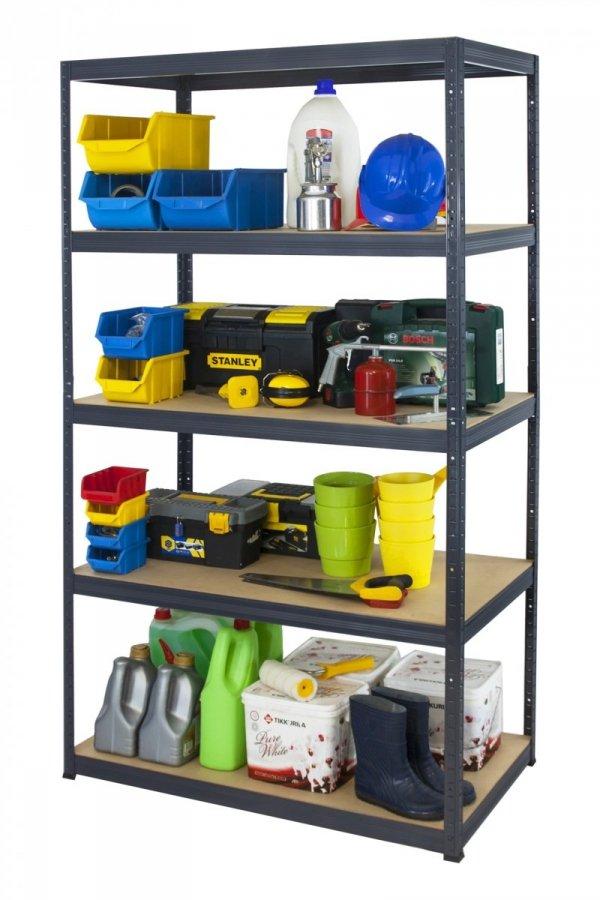 Metallregal Werkstatt Schwerlastregal Helios 196x120x60_5 Böden, Tragkraft bis 400 Kg pro Boden,  Viele Farben zur Auswahl