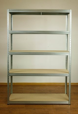 Metallregal Steck-Lager- Schwerlastregal bis 400 kg pro Boden , verzinkt , HZ_180x110x45, 5 Böden