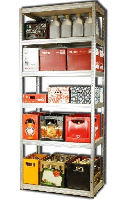 Metallregal Steck-Lager- Schwerlastregal bis 400 kg pro Boden , verzinkt , HZ_196x110x60, 6 Böden