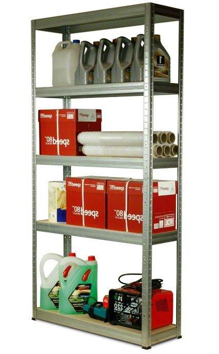 Metallregal Steck-Lager- Schwerlastregal bis 400 kg pro Boden , verzinkt , HZ_180x075x35, 5 Böden
