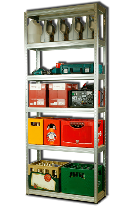 Metallregal Steck-Lager- Schwerlastregal bis 400 kg pro Boden , verzinkt , HZ_196x110x35, 6 Böden
