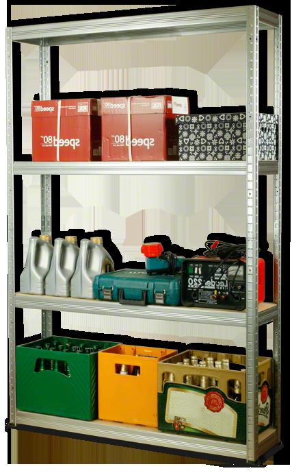 Metallregal Steck-Lager- Schwerlastregal bis 400 kg pro Boden , verzinkt , HZ_180x120x30, 4 Böden