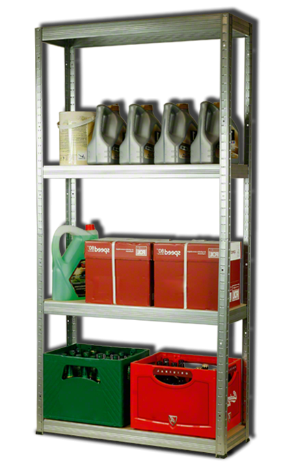 Metallregal Steck-Lager- Schwerlastregal bis 400 kg pro Boden , verzinkt , HZ_180x090x35, 4 Böden