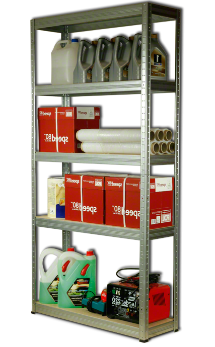 Metallregal Steck-Lager- Schwerlastregal bis 400 kg pro Boden , verzinkt , HZ_180x090x30, 5 Böden