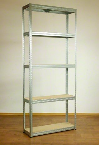 Metallregal Steck-Lager- Schwerlastregal bis 400 kg pro Boden , verzinkt , HZ_213x075x40, 5 Böden