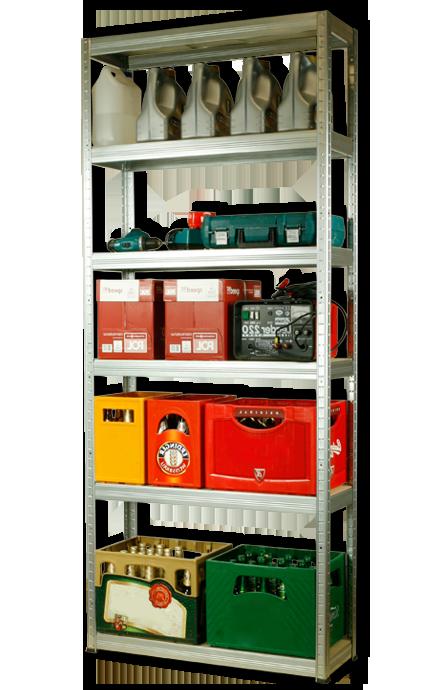 Metallregal Steck-Lager- Schwerlastregal bis 400 kg pro Boden , verzinkt , HZ_196x075x40, 6 Böden