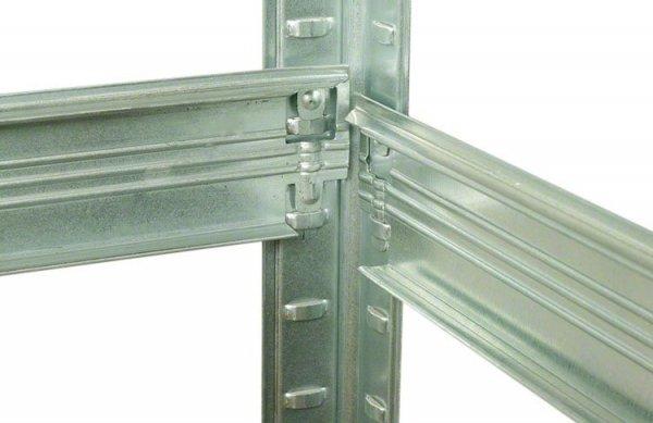 Metallregal Steck-Lager- Schwerlastregal bis 400 kg pro Boden , verzinkt , HZ_213x090x50,5 Böden