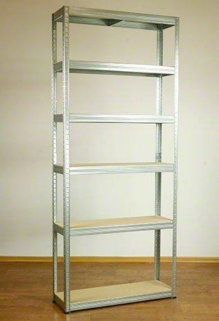Metallregal Steck-Lager- Schwerlastregal bis 400 kg pro Boden , verzinkt , HZ_196x090x35, 6 Böden