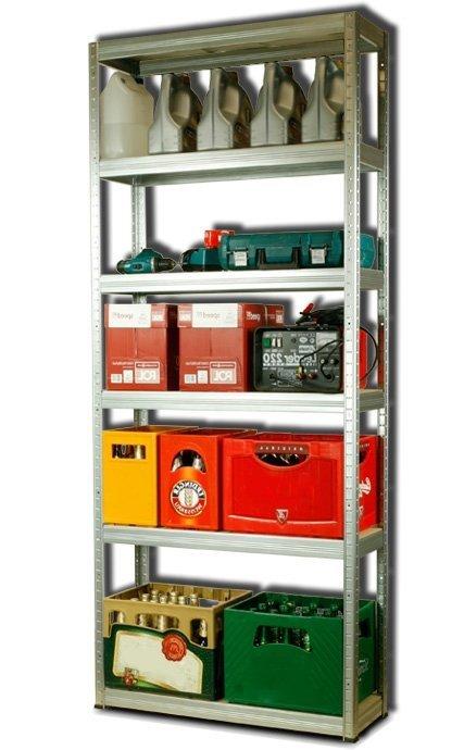 Metallregal Steck-Lager- Schwerlastregal bis 400 kg pro Boden , verzinkt , HZ_196x090x30, 6 Böden