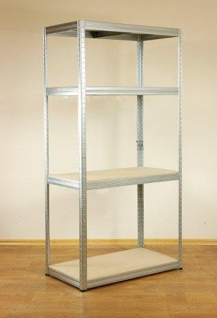 Metallregal Steck-Lager- Schwerlastregal bis 400 kg pro Boden , verzinkt , HZ_180x090x50, 4 Böden