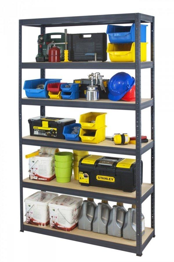 Metallregal Werkstatt Schwerlastregal Helios 213x120x35_6 Böden, Tragkraft bis 400 Kg pro Boden,  Viele Farben zur Auswahl