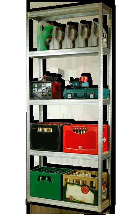 Metallregal Steck-Lager- Schwerlastregal bis 400 kg pro Boden , verzinkt , HZ_196x075x35, 5 Böden