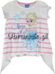 T-shirt Kraina Lodu Elsa w różowe paseczki z wydłużonymi bokami