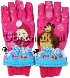 Rękawiczki Narciarskie Masza i Niedźwiedz ciemny róż