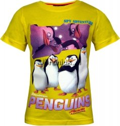 T-shirt Pingwiny z Madagaskaru żółty