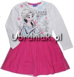Sukienka Frozen Elsa biało-różowa