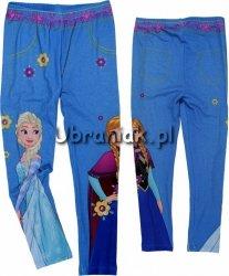 Legginsy Frozen Kraina Lodu Elsa i Anna niebieskie