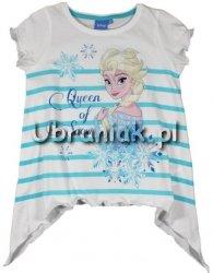 T-shirt Kraina Lodu Elsa w niebieskie paseczki z wydłużonymi bokami