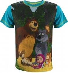 T-shirt Masza i Niedźwiedź dla Chłopca niebieski