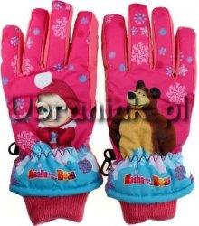 Rękawiczki Narciarskie Masza i Niedźwiedz jasny róż