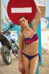 Dámské plavky Marko Daisy Galassia M-300 tmavo modro-červeno-grafitové