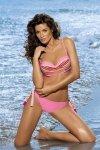Dámské plavky Marko Justine paski + Hollywood M-298 růžovo-žluté