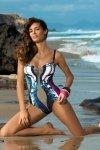 Dámské plavky Marko Miriam Cosmo-Thai M-329 tmavo modro-béžovo-tmavo růžové