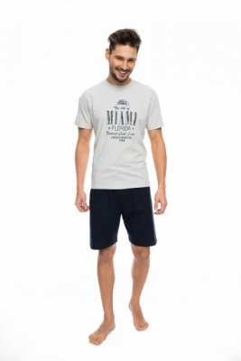 Rossli SAM-PY-087 šedý Pánské pyžamo