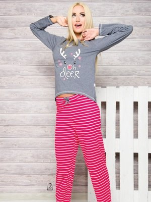 Taro 1193 Oda AW/17 K2 Šedo-růžové (fuchsie) Dámské pyžamo