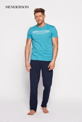 Henderson PJ028 35398-66x Tyrkysovo-tmavě modré Pánské pyžamo