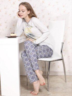 Roksana Molly 546 Šedo-modré Dámské pyžamo
