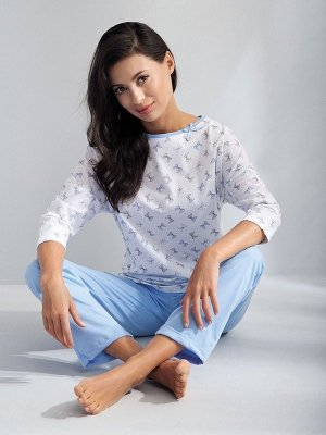 Luna Angelina 593 Světle modré Dámské pyžamo