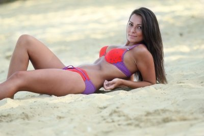 Plavky Demi Saison Primavera červené s fialovou