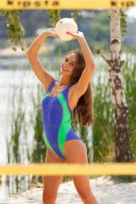 Jednodílné plavky Demi Saison Mauritius tmavě modro-zelené