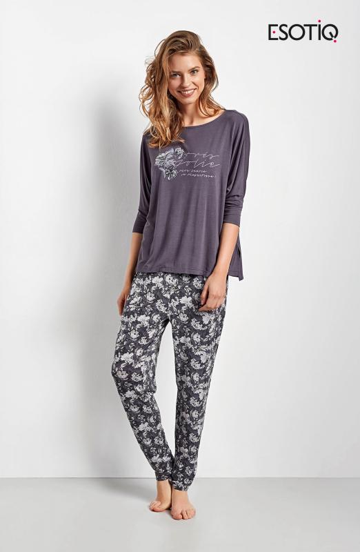 Esotiq Chana 34537-90X, 34539-90X grafitové Dámské pyžamo