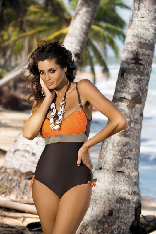 Dámské plavky Marko Whitney Sepia-Papaya-Fango M-253 Hnědo-oranžové