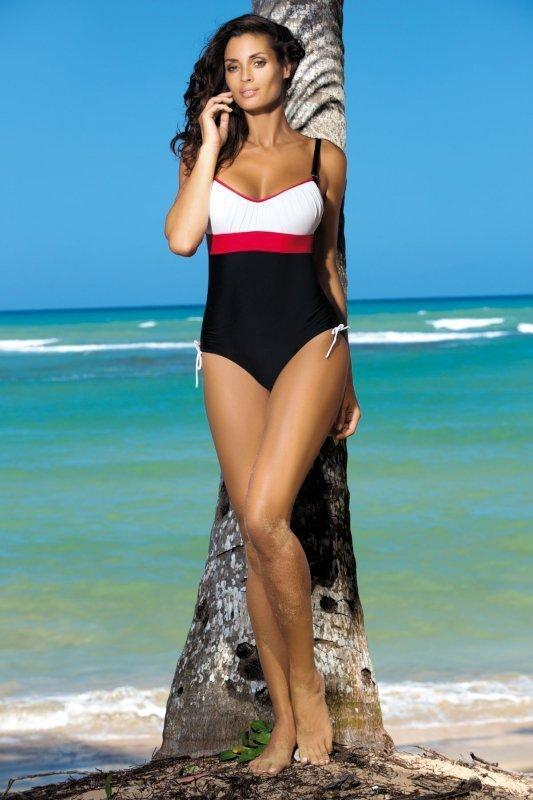Dámské plavky Marko Whitney Nero-Bianco-Ginger M-253 Černo-bílo-červené