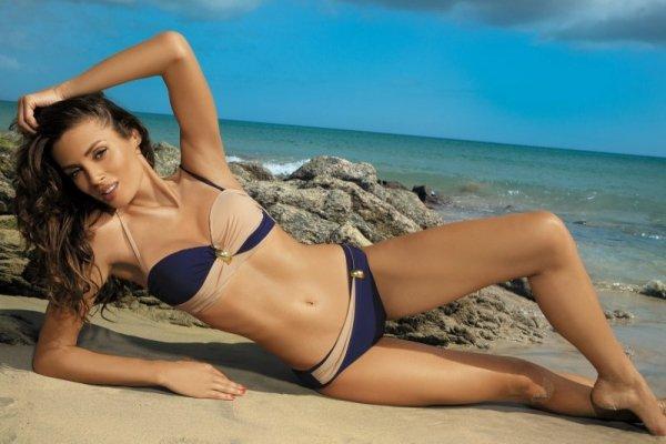 Dámské plavky Marko Liliana Uniform-Light Skin M-259 granátovo-béžové