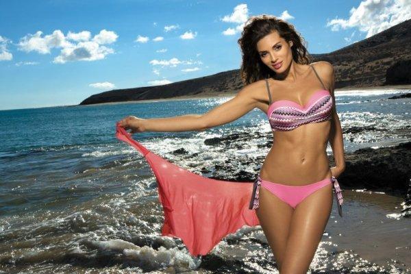 Dámské plavky Marko Letitia Ardesia-Hollywood M-299 růžovo- šedé