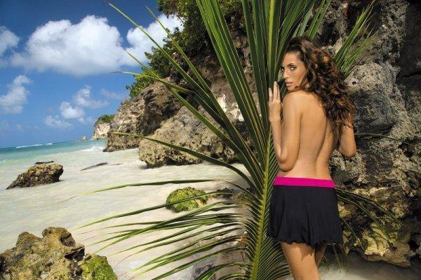 Plážová sukně Marko Meg Nero-Fresia M-266 černo-malinová
