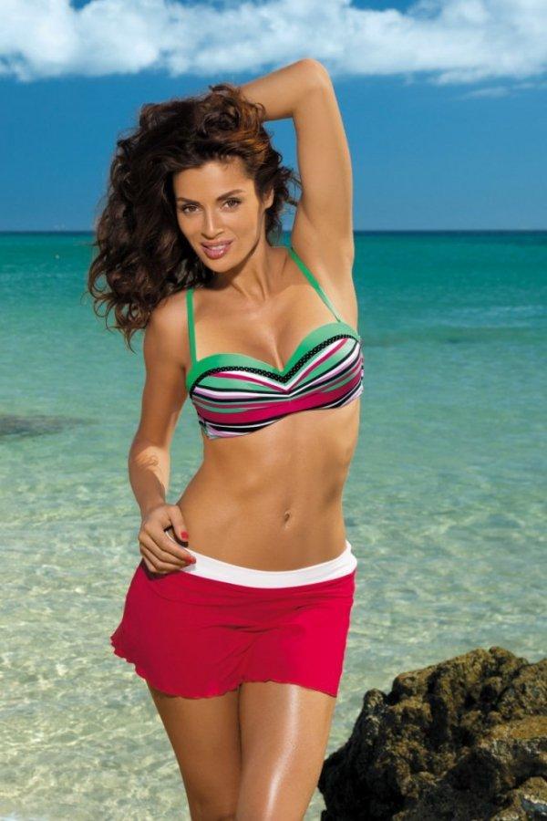 Plážová sukně Marko Meg Rosso Passione-Bianco M-266 červeno-bílá