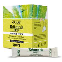 Guam Britania Dren - Drenujacy koncentrat z alg morskich i ekstraktów roślinnych do picia o smaku zielonej herbaty - 30x12ml