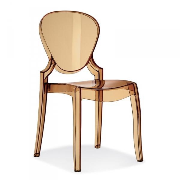 Bursztynowe krzesło z transparentnego tworzywa Pedrali Queen 650