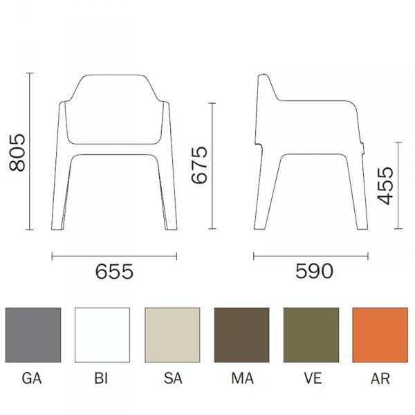 Plus 630 Pedrali wymiary i kolory