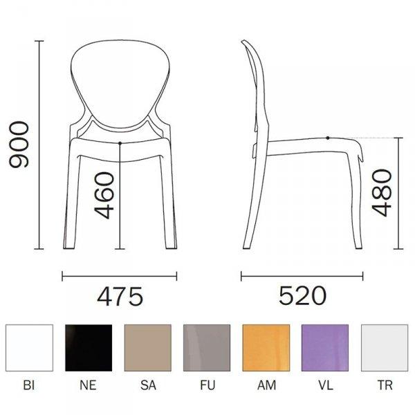 Krzesło Queen 650 Pedrali wymiary i kolory ramy