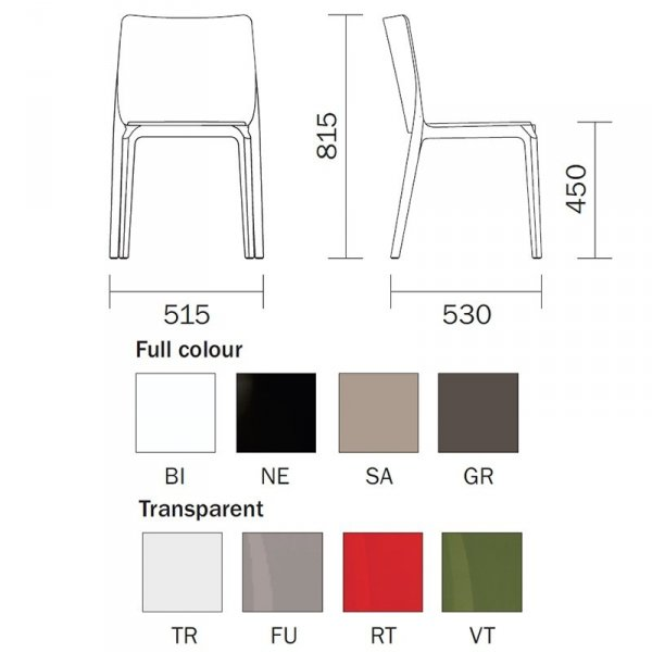 Krzesło Pedrali Blitz 640 wymiary