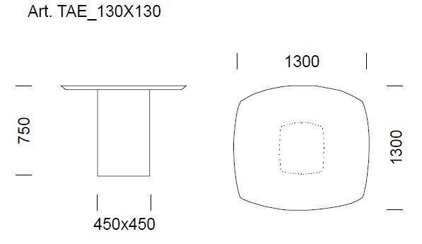 Aero Stół 1300x1300mm Pedrali